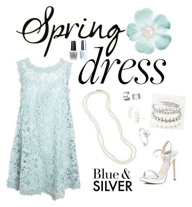 """Blue & Silver Spring Dress"" by sarahlynnmurphy ❤ liked on Polyvore featuring Carolee, Nadri, ASOS, Avenue, BERRICLE, River Island, Bling Jewelry, OPI and Blue Nile"