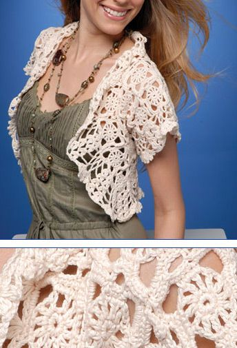 Crochet Bolero. Full pattern < seeing LOADS of crochet all over the place in Barcelona. Boleros and cover-ups, slouchy off the shoulder jumpers, skirts and dresses.