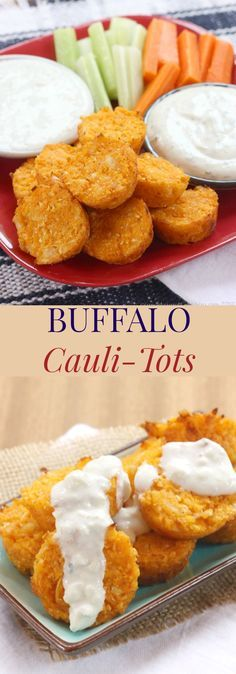 Buffalo Cauli-Tots recipe. Get the family to eat their veggies with these spice cauliflower tots! Dip them in blue cheese or Ranch dressing for the ultimate wing flavor! A perfect gluten free appetizer!