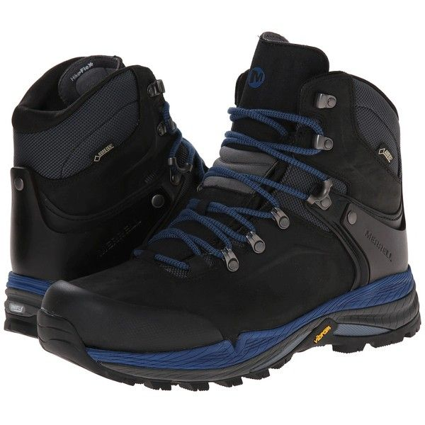 Merrell Crestbound GORE-TEX(r) (Black/Blue) Men's Hiking Boots (€120) ❤ liked on Polyvore featuring men's fashion, men's shoes, men's boots, black, mens lace up boots, mens gore tex boots, mens blue boots, mens breathable shoes and mens black shoes