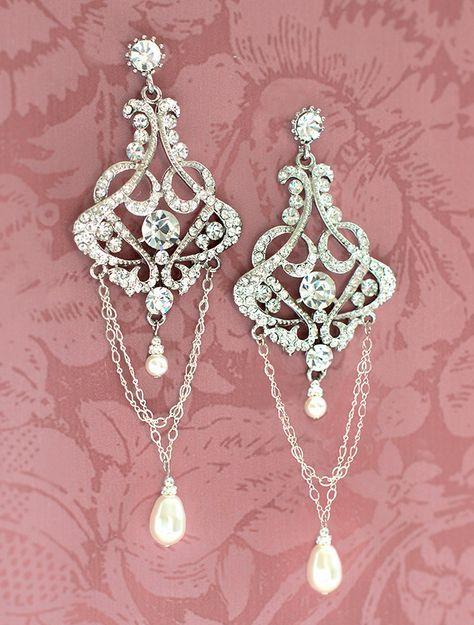1920s+Bridal+Earrings+Vintage+Bridal+Earrings+by+LottieDaDesigns,+$58.00