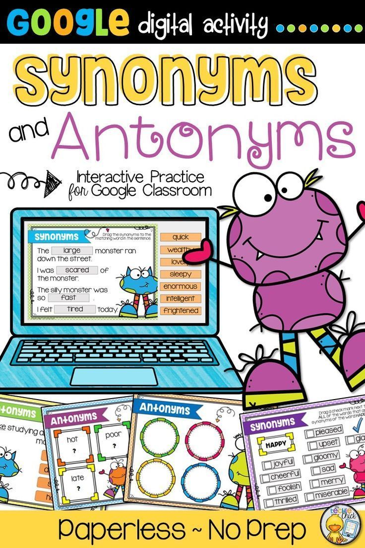 Synonyms And Antonyms For Google Classroom Pinterest