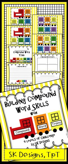Build proficiency with compound words while creating an engaging bulletin board - 4 levels of challenge to enrich and engage students! SK Designs TeacherspayTeachers