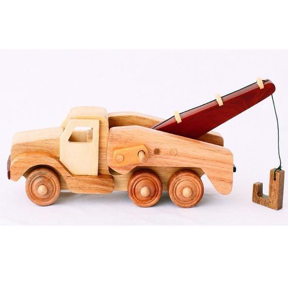 Personalized Toy Car Nursery Decor Wooden Crane On Wheels Handmade Wood Car for Kids Birthday Wooden Crane Car Wooden Toy Crane Car
