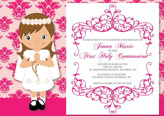 First Communion Invitation First Holy Communion by FabPartyPrints
