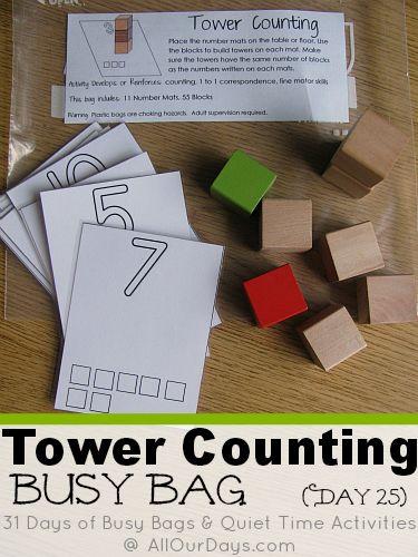 Torre conteggio Occupato #freeprintable Bag (Giorno 25) 31 Giorni di Borse Busy & Quiet Time Activities @ AllOurDays.com