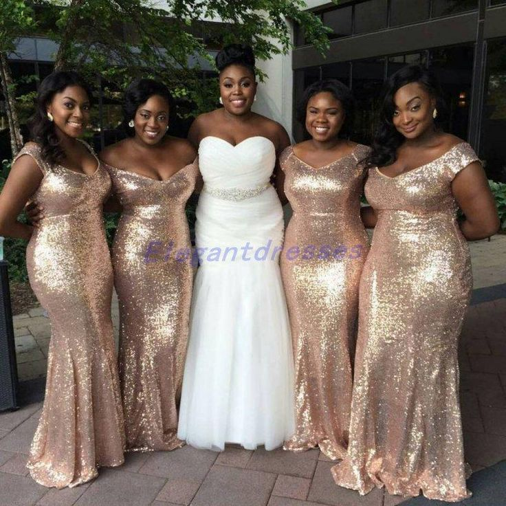 Sparkly Rose Gold Cheap 2018 Mermaid Bridesmaid Dresses Off Shoulder