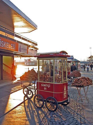 simit bread in early light, Karakoy, Istanbul, Turkey