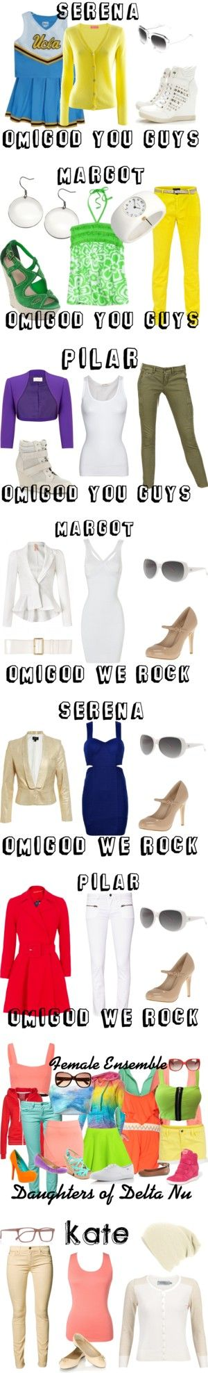 Legally Blonde Costumes: The Girls of Delta Nu by camposj on Polyvore featuring FTC Cashmere, Wallis, MASSADA, legally blonde, Reeds Jewelers, SuperTrash, Human Premium, Carvela Kurt Geiger, Planet and Maison Clochard
