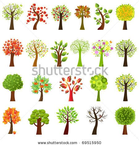 stock vector : Collection Of Trees, Isolated On White Background, Vector Illustration