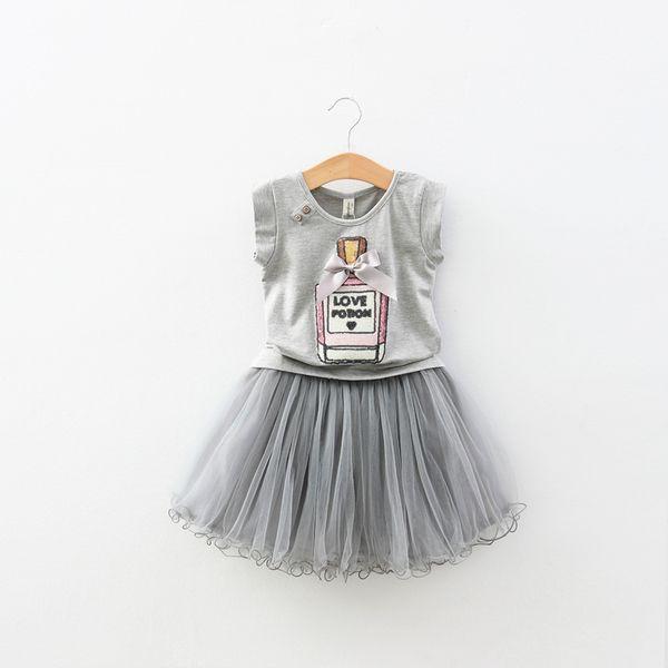 Зазор последнее лето пункт девушки флакон духов майка + вуаль кусок женского пола ребенка принцесса лето пункт костюм