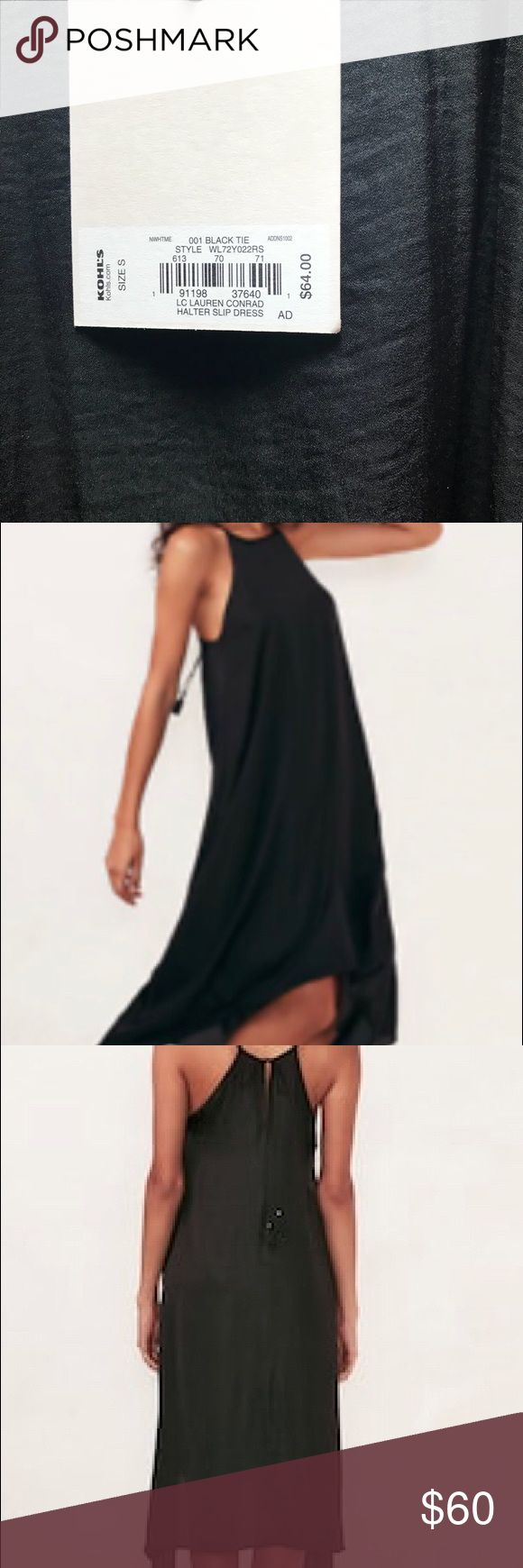 Lauren Conrad Halter Slip Dress Pretty black dress that can be worn to a black tie affair or just a day event.  New tag still on dress. LC Lauren Conrad Dresses High Low