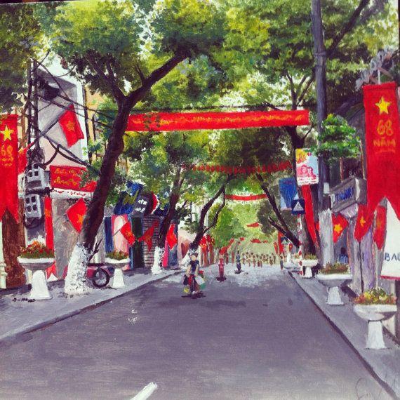 Hang Bong street Hanoi Vietnam in Independence Day by LaNebuleuse, $59.00