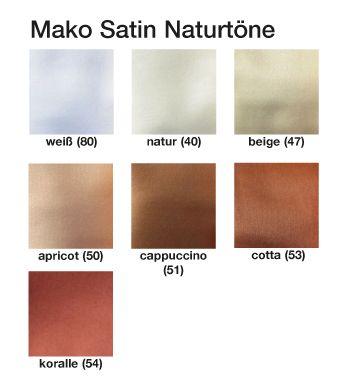 Mako Satin Bettbezüge Natur Farbtöne