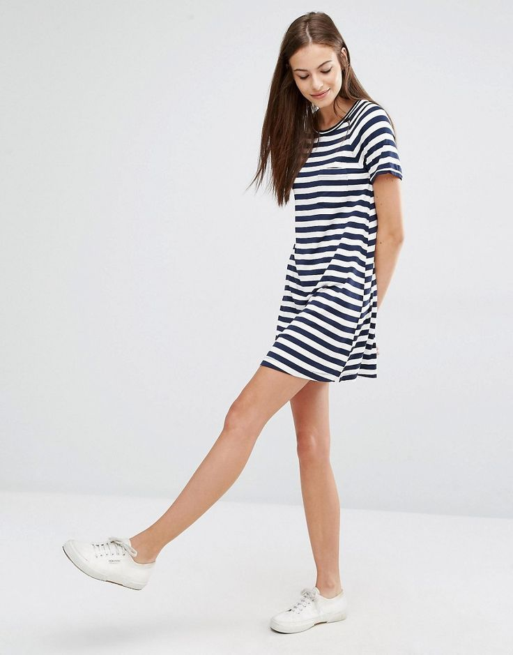 Keep is casual, comfy and cute in the Abercrombie & Fitch T-Shirt Stripe Dress - get even more style and shopping inspiration on http://jojotastic.com/shop-my-favorites/