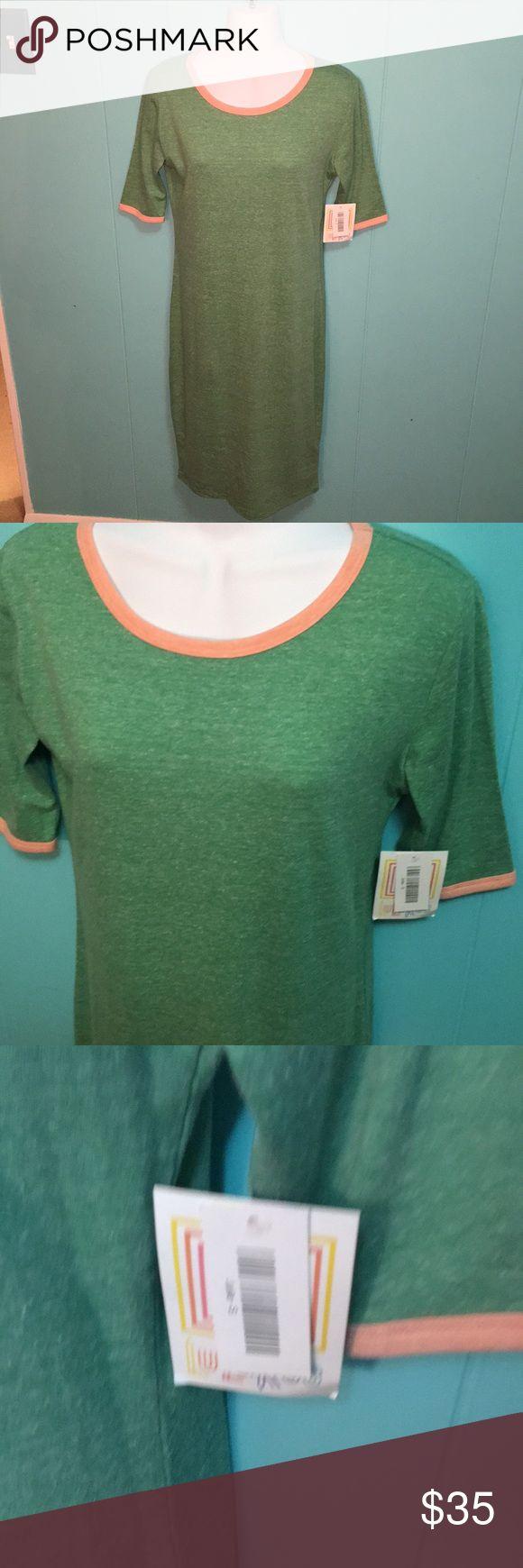 NWT Lularoe Julia dress Heather green NWT Lularoe Julia dress. Peach trim on Heather green. Size small LuLaRoe Dresses Maxi