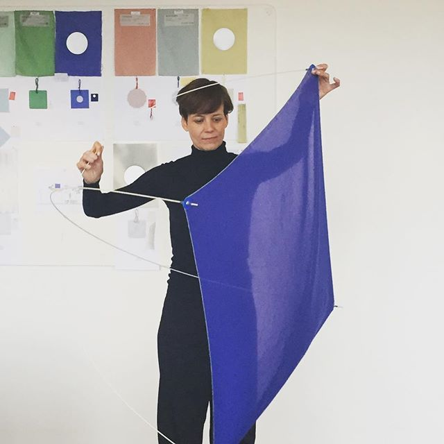 Preparing for Salone del Mobile.  Today we visit Dutch designer Wieki Somers who is making kites out of Kinnasand textiles. Experience her playful exhibition SHIELDS in our showroom this April.  #kinnasandwiekisomers #studiowiekisomers #shields #kinnasand #colour #salonedelmobile2017 #textiles