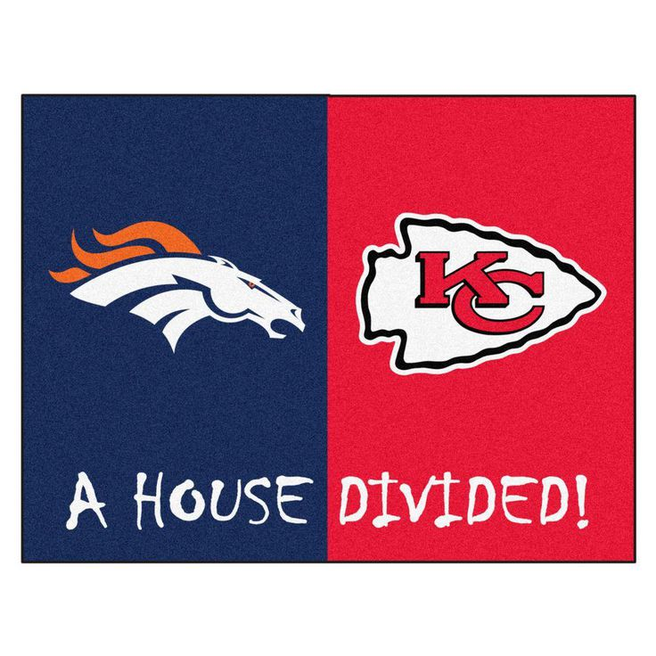 NFL Broncos / Chiefs Navy House Divided 2 ft. 10 in. x 3 ft. 9 in. Accent Rug, Blue/Red