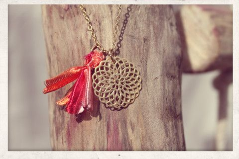 Tassel necklace made with love from 16k gold plated chain, 14k gold plated filigree charm and silky satin ribbons!
