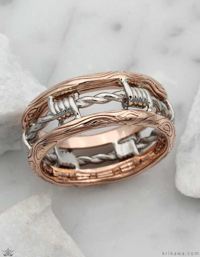 Cool Wedding Rings For Men This Is Krikawa S Barbed Wire Wedding Band In 14k Rose Gold And Palladiu Cheap Mens Wedding Rings Cheap Wedding Rings Wedding Rings
