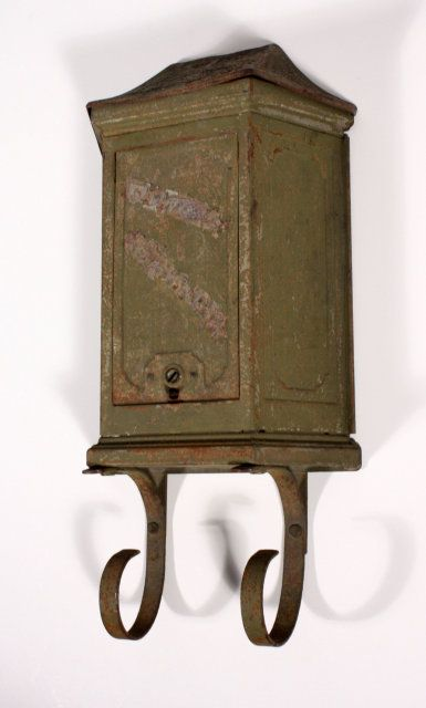 An antique mailbox for our mail. I love the color of this one.