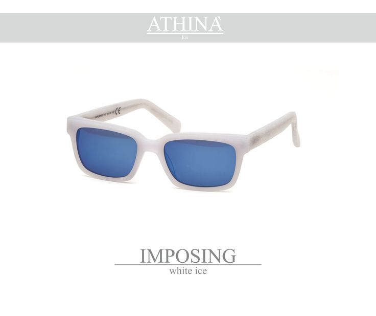 Mod. IMP0404M06 Shades totally made in top-quality acetate of cellulose with a rectangular shape white-ice coloured. Provided with mirror blue lenses.