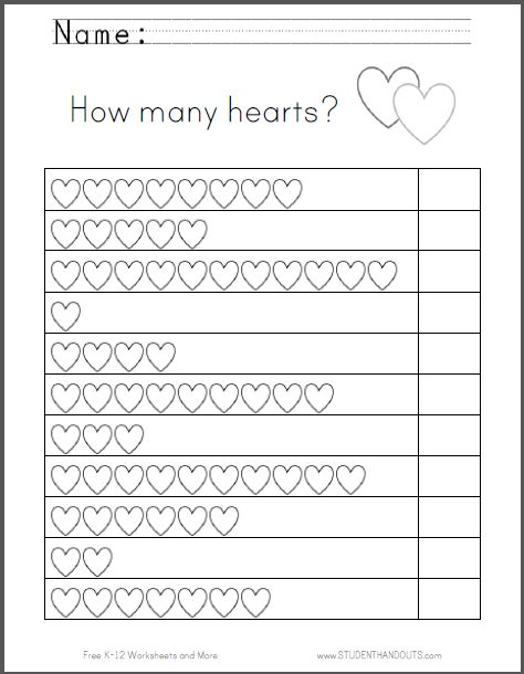 Hearts Counting Worksheet - Great for Valentine's Day. Free to print (PDF). Grades K-1.