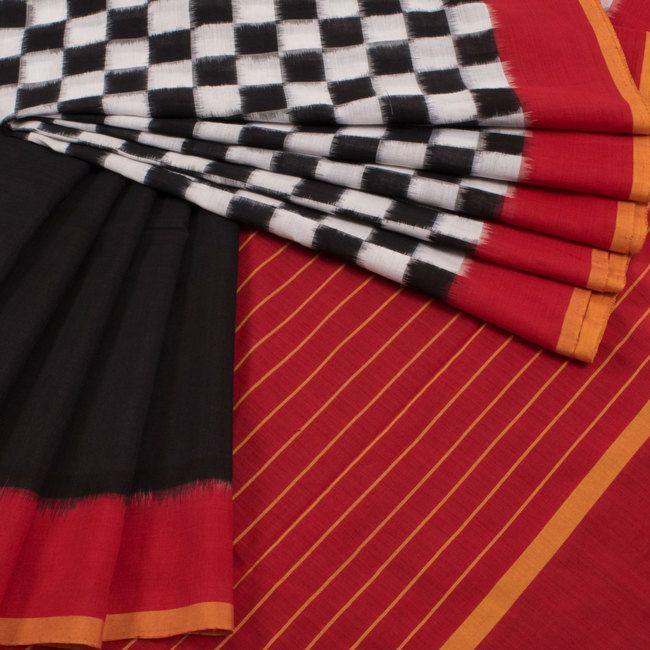Buy online Handwoven Black & White Half and Half Double Ikat Cotton Saree With Ganga Jamuna Border & Striped Pallu 10011753