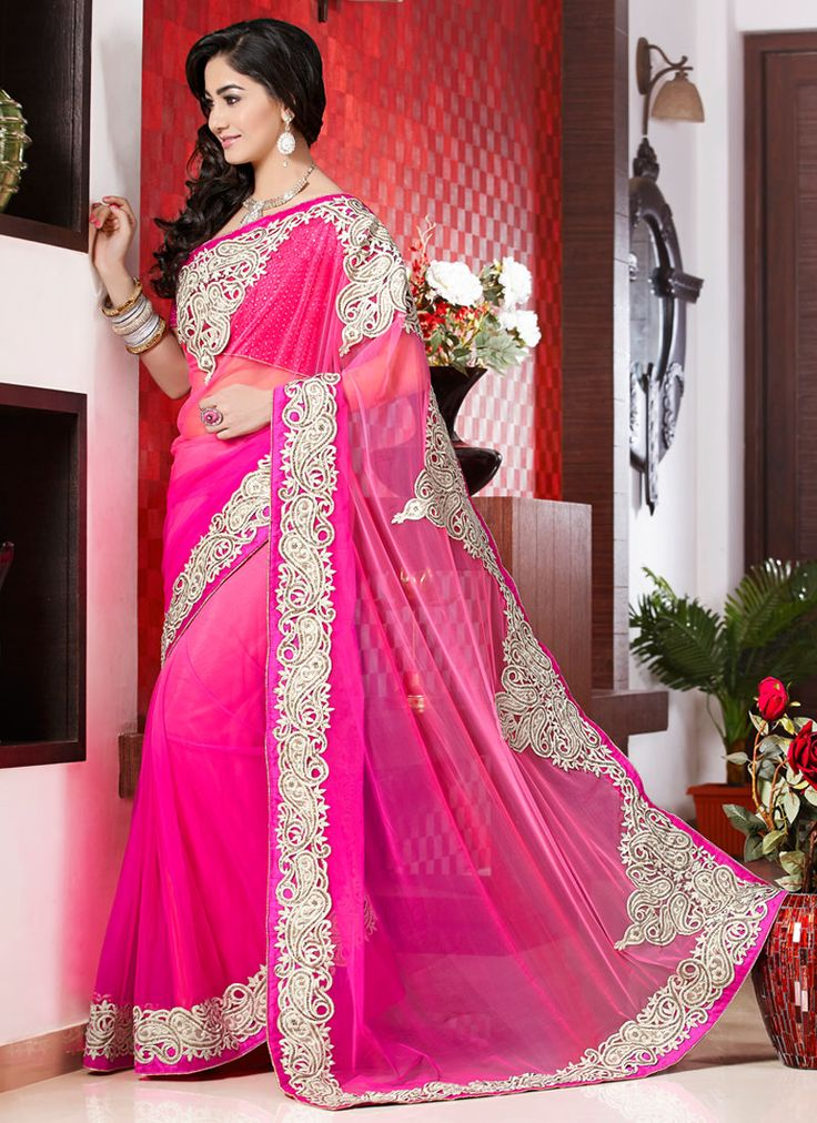 Preety Pink Resham Work Net Designer Saree, Product Code :6023, shop now http://www.sareesaga.com/preety-pink-resham-work-net-designer-saree-6023  Email :support@sareesaga.com What's App or Call : +91-9825192886