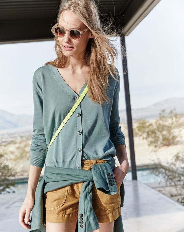 J.Crew women's summerweight cotton v-neck cardigan, vintage hiking short and Ray-Ban High Street round sunglasses.