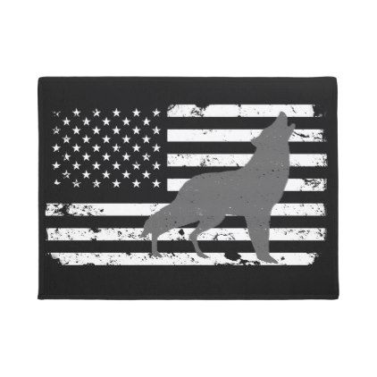 Gray Lone Wolf Silhouette Distressed American Flag Doormat - home gifts ideas decor special unique custom individual customized individualized