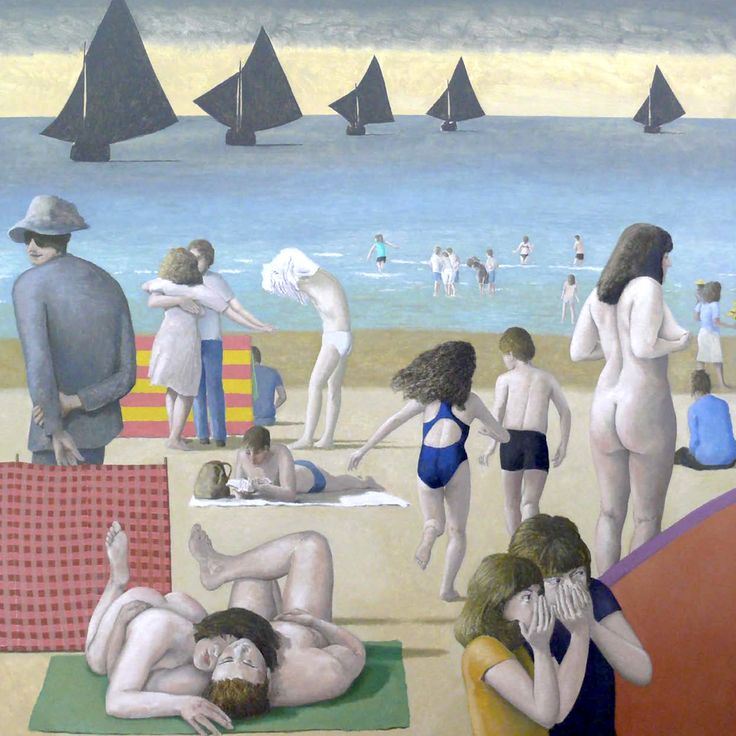 """Allegory I (2015) by David Inshaw. """"The beginning of Allegory I is those two figures in the middle, the two children running down the beach...It is about innocence, joy and fun, but there are other elements in the picture that are more sinister."""" Dark-sailed yachts and low-flying Chinook helicopters advance on these scenes and imbue them with an uneasy sense of threat or menace."""