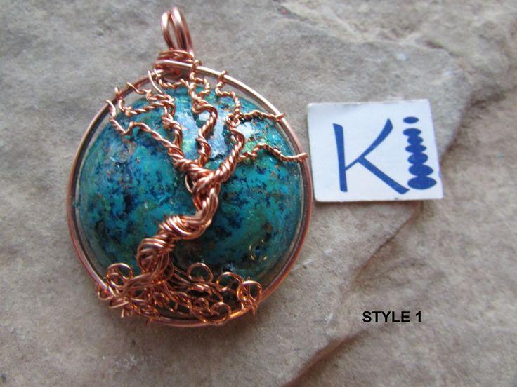 Orgone Tree of Life Pendant Copper  Black Tourmaline, Kyanite, Labradorite by KiCrystalCreations on Etsy
