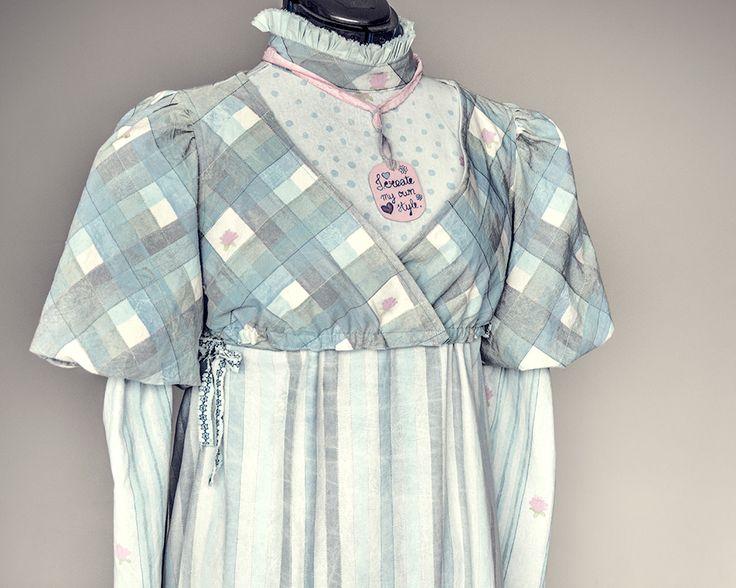Het eindresultaat: een jurk geïnspireerd op de mode uit de tijd van Pride & Prejudice (1813).
