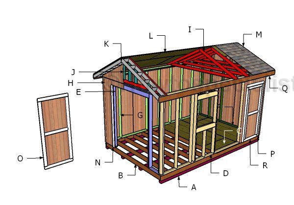 486 best outdoor shed plans free images on pinterest for Piani di coperta 10x16