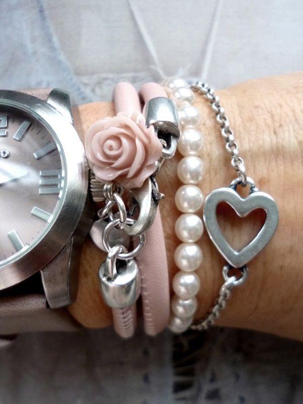 'Delicate' armbandjes combi... met roze leer en parels...