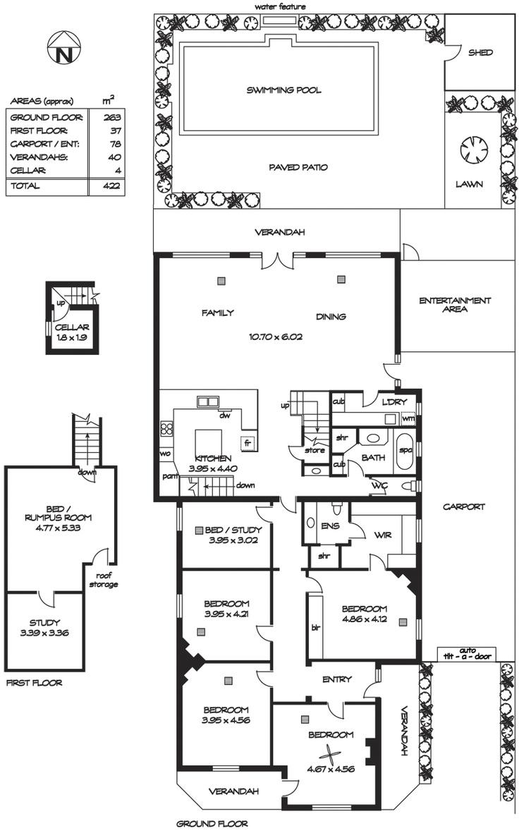 floor plan - villa with second storey