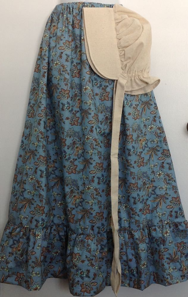M-L  Prairie SKIRT and BONNET set    Pioneer Trek   Reenactment  Frontier Woman #SewBox #PrairieColonialPioneer