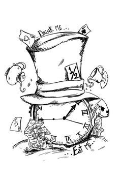 Alice in Wonderland Have a tea party set up on top of the hat, different style hat, more of a pocket watch clock...