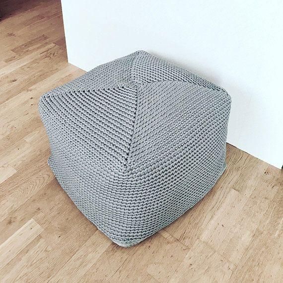 Grey Pouffe Footstool Scandinavian Design Floor Cushion Grey