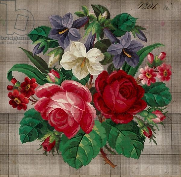 Bunch of roses, primulas and gentians embroidery design, 19th century