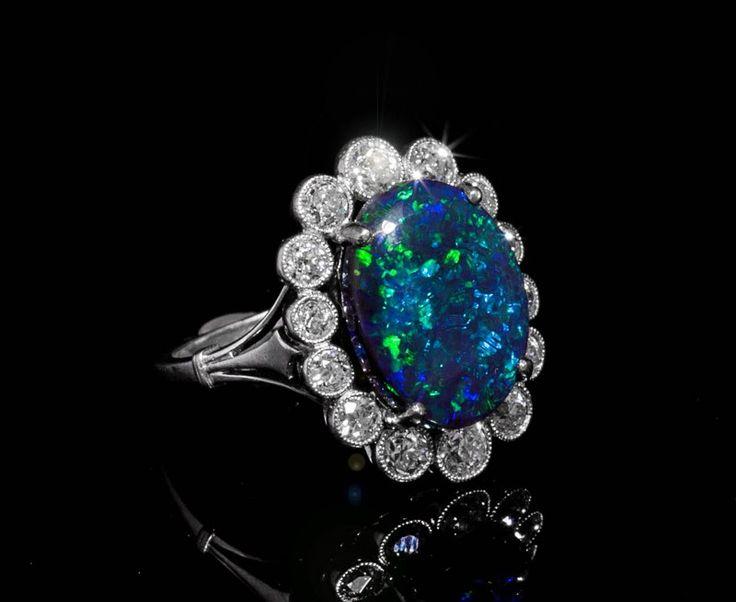 Bague opale saphir