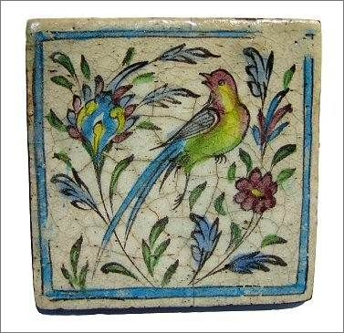 Hand painted Persian tile, early 1800's.