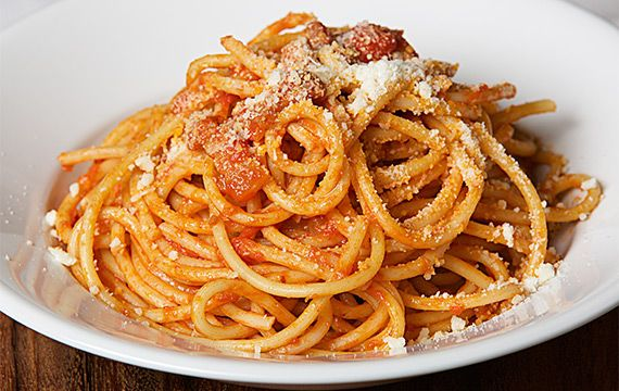 Tubular Spaghetti with Pig Cheek and Pecorino - San Remo