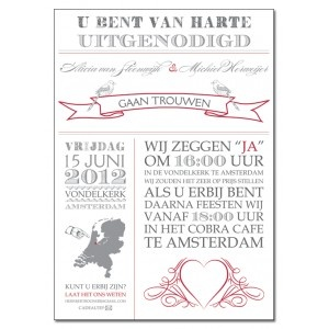 Trouwkaart: Vintage Uitnodiging (Groot Formaat) - Wedding Designs
