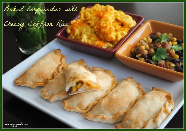 Easy Baked Empanadas with Cheesy Saffron Rice and Salsa - Shugary Sweets