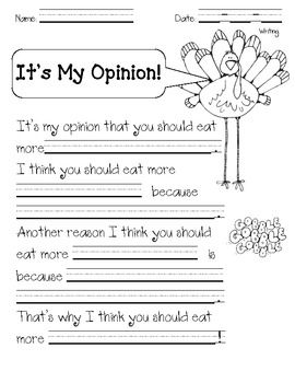 Turkey Opinion Writing-Cute, but will adapt a bit for 3rd grade