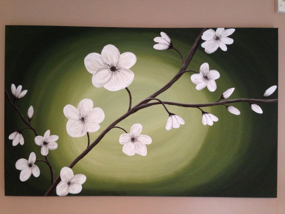 White cherry blossom cherry blossom tree green by Creationsbyconni