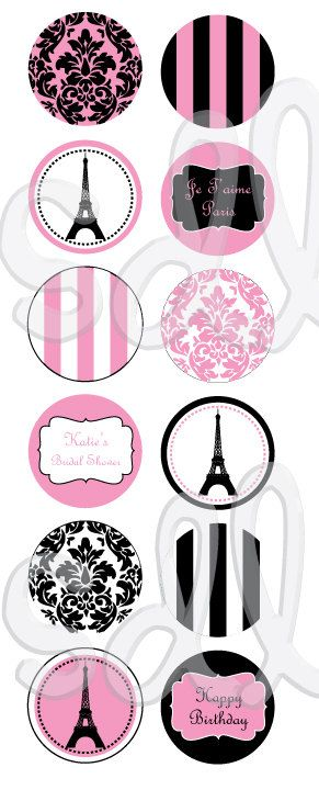 PRINTABLE PDF Paris Eiffel Tower Theme Birthday/ Bridal Shower/ Baby Shower Candy Labels. $7.00, via Etsy.