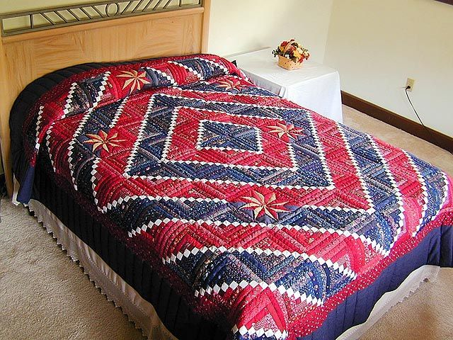 Cornerstone with Stars Quilt -- superb skillfully made Amish Quilts from Lancaster (hs141)